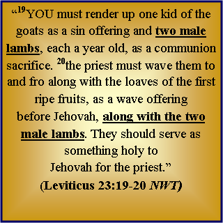 "Text Box: ""19YOU must render up one kid of the goats as a sin offering and two male lambs, each a year old, as a communion sacrifice. 20the priest must wave them to and fro along with the loaves of the first ripe fruits, as a wave offering 