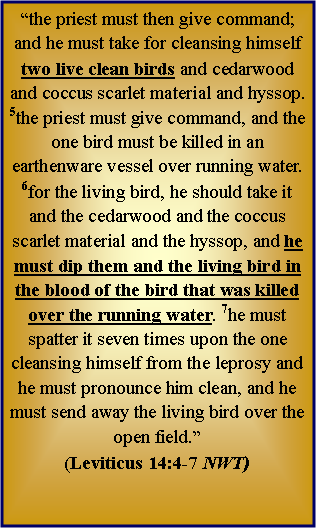 "Text Box: ""the priest must then give command; and he must take for cleansing himself two live clean birds and cedarwood and coccus scarlet material and hyssop. 5the priest must give command, and the one bird must be killed in an earthenware vessel over running water. 6for the living bird, he should take it and the cedarwood and the coccus scarlet material and the hyssop, and he must dip them and the living bird in the blood of the bird that was killed over the running water. 7he must spatter it seven times upon the one cleansing himself from the leprosy and he must pronounce him clean, and he must send away the living bird over the open field.""  